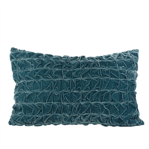 Ruched Velvet Cushion - Teal